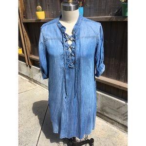 CLOTH & STONE Xander Washed Denim Lace-up Dress